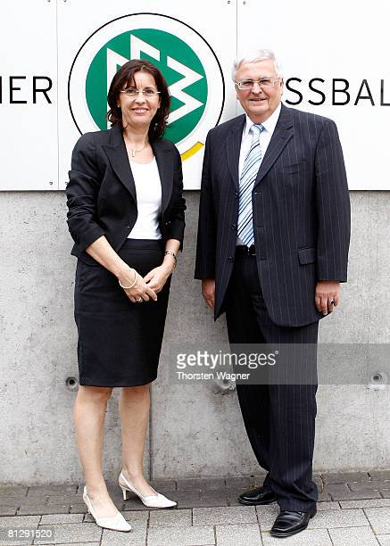 Photo call with Andrea Ypsilanti head of SPD Hessen and Dr Theo Zwanziger president of the german football association during the activity DFB meets...