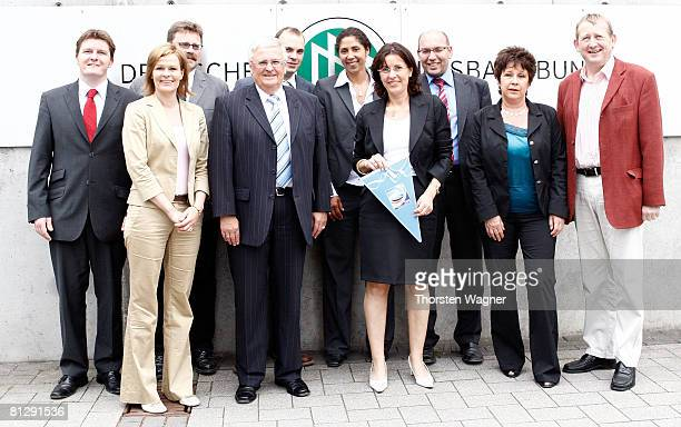Photo call with Andrea Ypsilanti head of SPD Hessen Dr Theo Zwanziger president of the german football association Steffi Jones president of the...