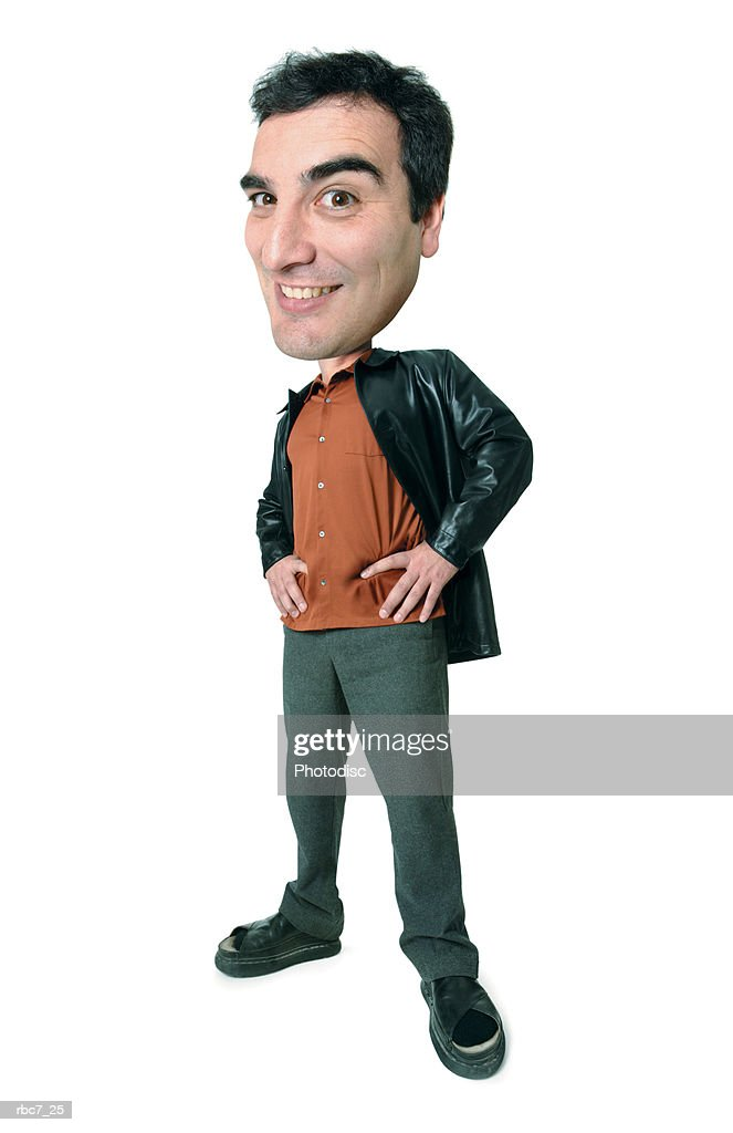 photo caricature of a caucasian man in a orange shirt and leather jacket as he puts his hands on his hips and smiles : Stockfoto