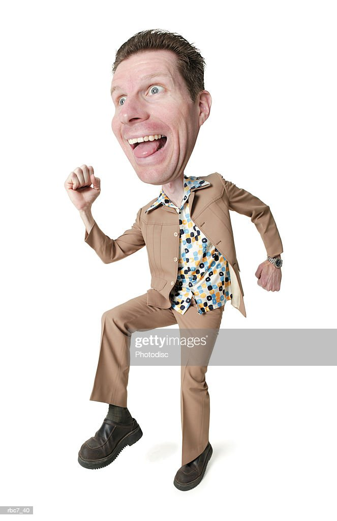photo caricature of a caucasian man in a polyester suit and retro shirt as he strikes a running pose while dancing : Stockfoto