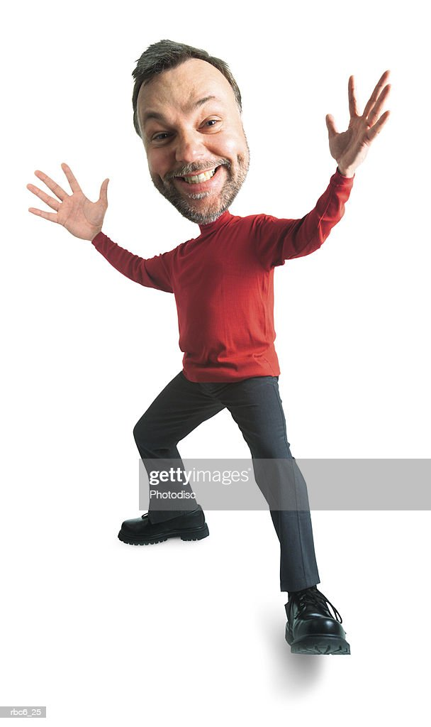 photo caricature of a caucasian man in a red turtleneck as he throws his arms out in surprise : Stock Photo