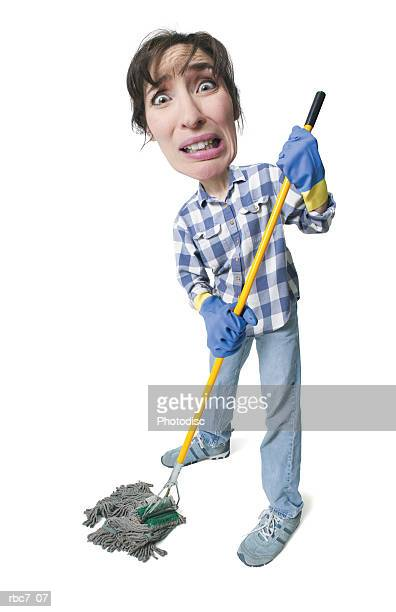 photo caricature of a caucasian woman holding a mop and appearing very stressed out