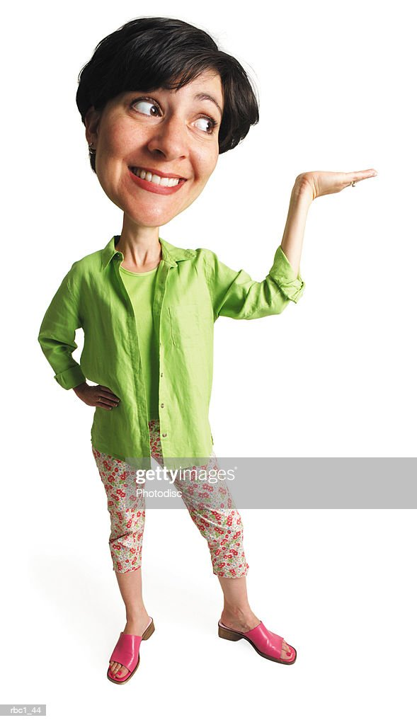 photo caricature of a caucasian woman in a green shirt and floral pants stands smiling with her arm outstretched and hand raised : Stockfoto