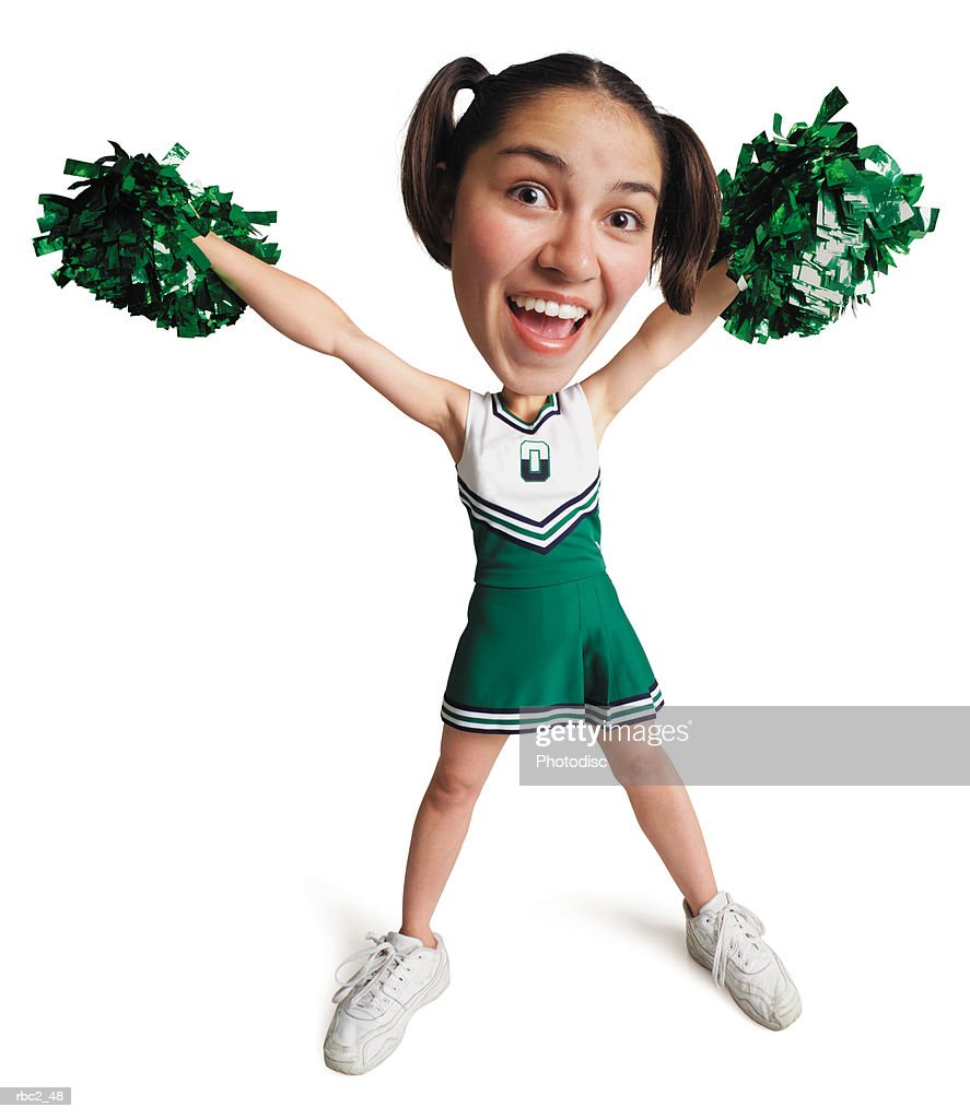 photo caricature of a cheerleader cheering and in a victory stance with pom-poms in the air : Stockfoto
