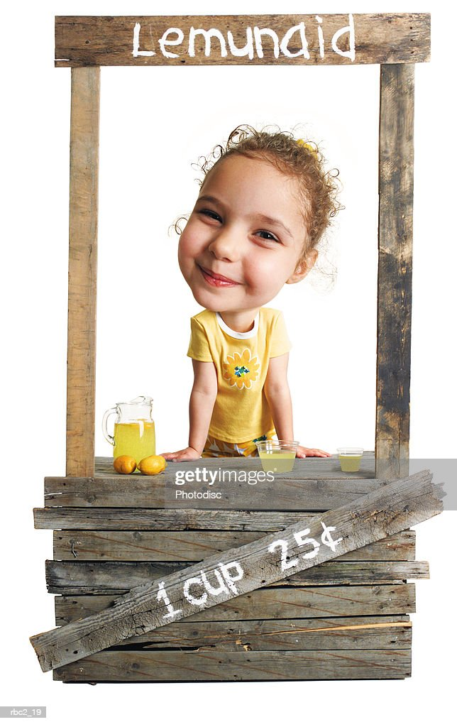 photo caricature of a cute little business woman selling lemonade with a smile on her face : Stockfoto