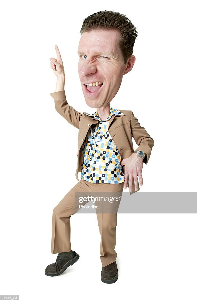 photo caricature of a desperate caucasian man in a polyester suit and retro shirt as he strikes a disco pose : Stockfoto