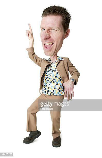 photo caricature of a desperate caucasian man in a polyester suit and retro shirt as he strikes a disco pose