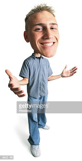 photo caricature of a male teenager with a grin on his face and standing with his hands extended appart