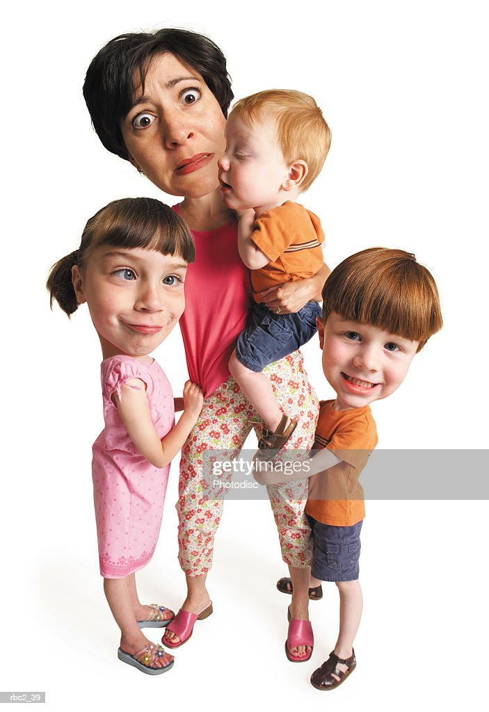 photo caricature of a mom stressing out as her children are pulling on her and making silly faces : Stock Photo