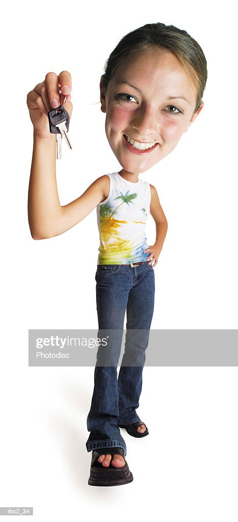photo caricature of a new teen driver holding up the car keys : Stockfoto