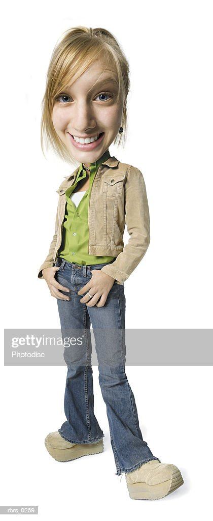 photo caricature of a teenage blonde female as she smiles brightly at the camera : Foto de stock