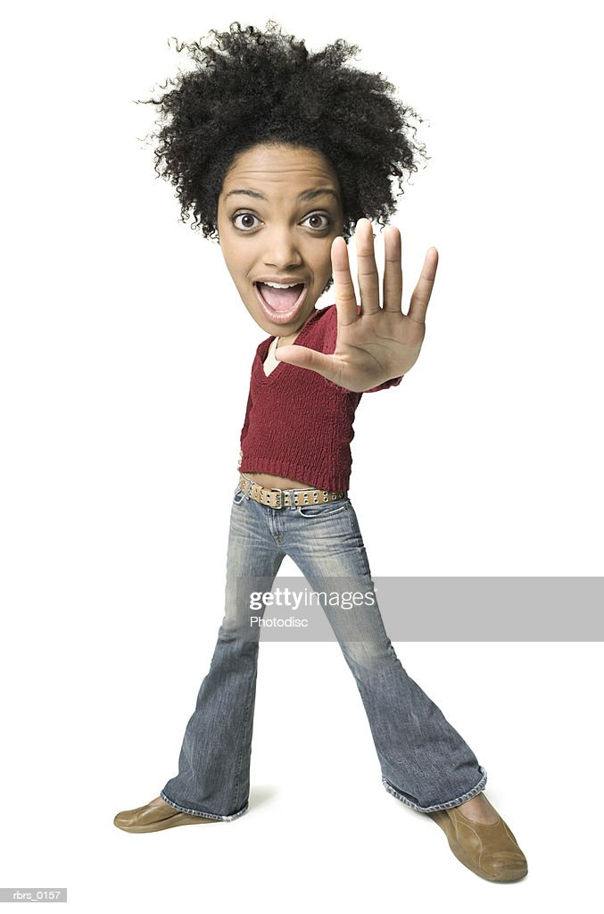 photo caricature of a young adult female in a red sweater as she holds out her hand : Stockfoto
