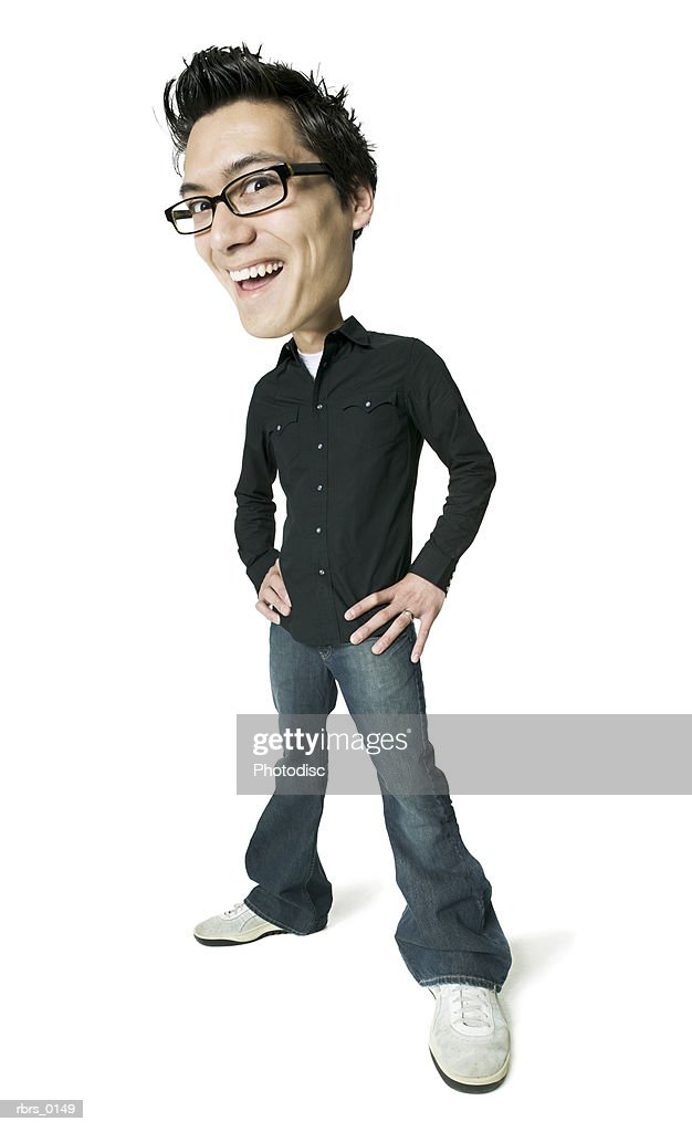 photo caricature of a young adult male in a black shirt as he puts his hands on his hips and smiles : Foto de stock