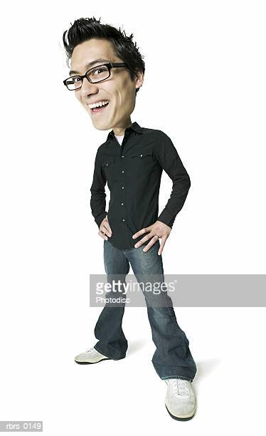 photo caricature of a young adult male in a black shirt as he puts his hands on his hips and smiles