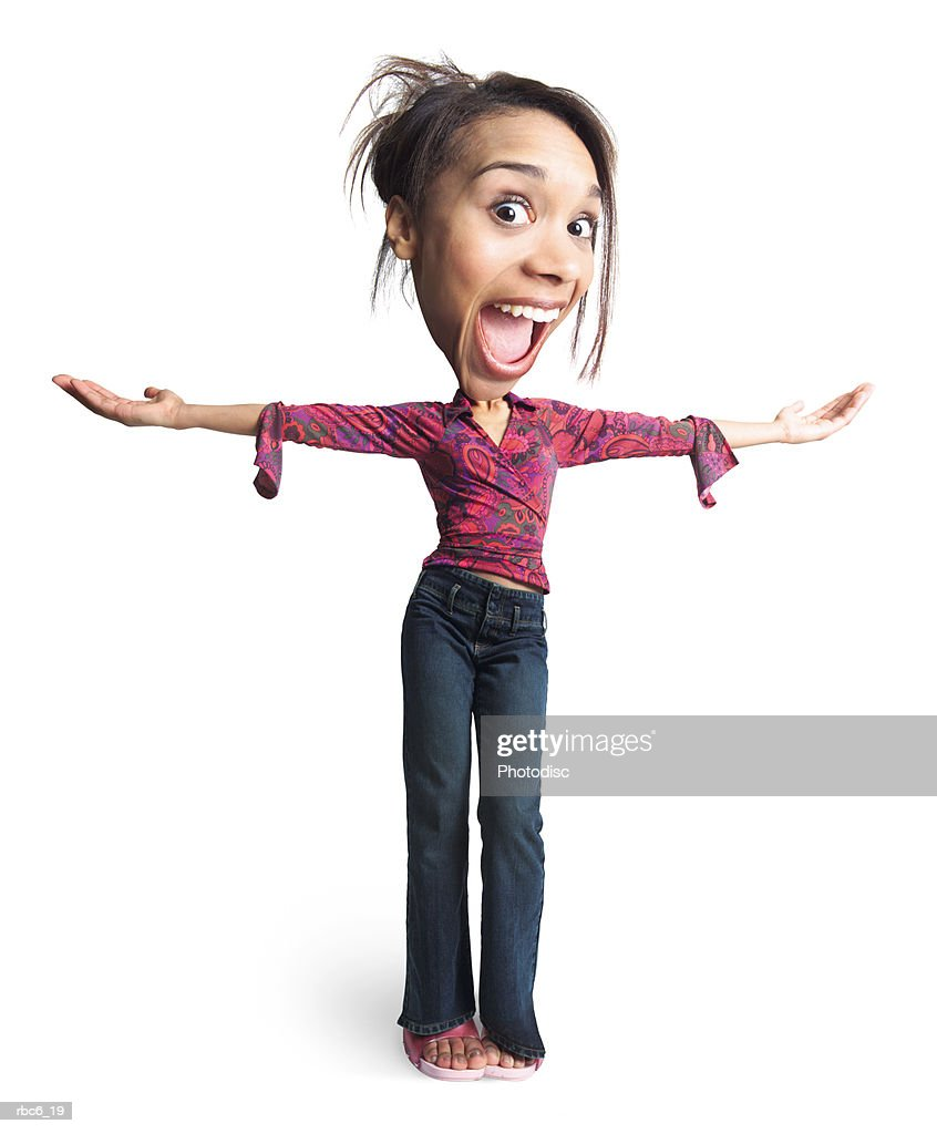 photo caricature of a young african american girl as she throws her arms out makes a happy expression : Stockfoto