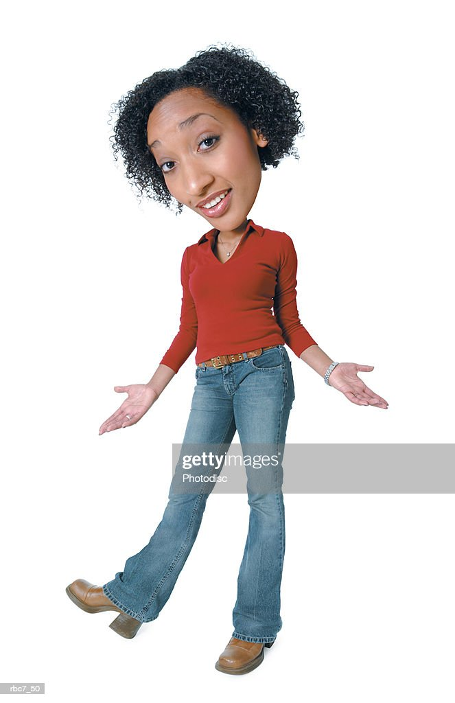 photo caricature of a young african american woman in jeans and a red shirt as she kicks up her foot and shrugs : Stockfoto