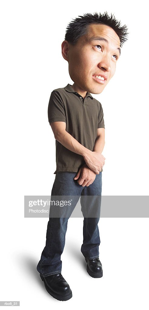 photo caricature of a young asian man in jeans and a green polo shirt as he clasps his hands togeher and looks bored : Stockfoto