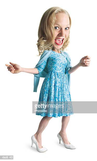 photo caricature of a young blonde caucasian woman in a blue dress as she dances and has a good time