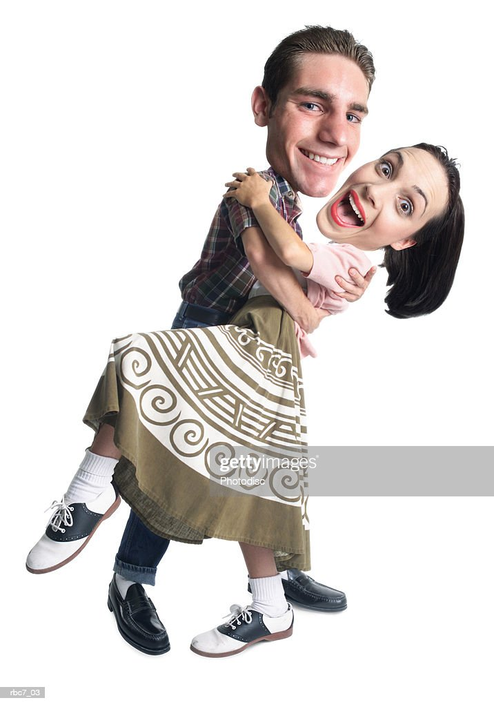 photo caricature of a young caucasian couple dressed in retro clothing as they dance and dip : Stockfoto