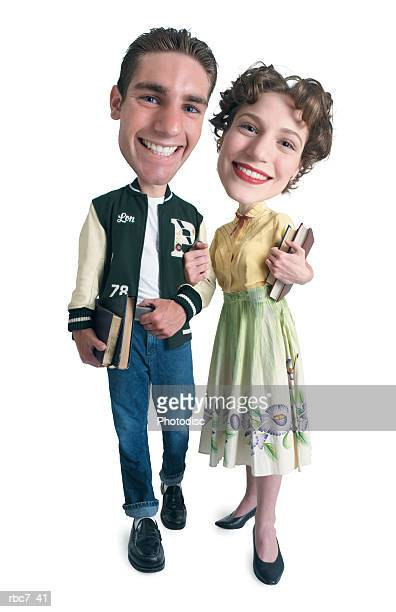 photo caricature of a young caucasian couple dressed in retro clothing as they carry books and walk home from school