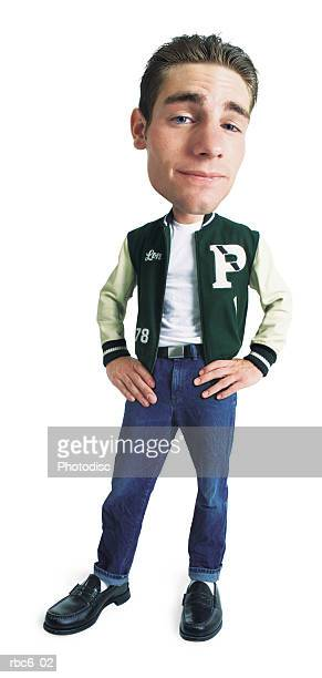 photo caricature of a young male high school jock as he stands smugly in his letteman jacket