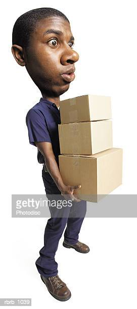 photo caricature of an african american delivery man as he carries a group of boxes