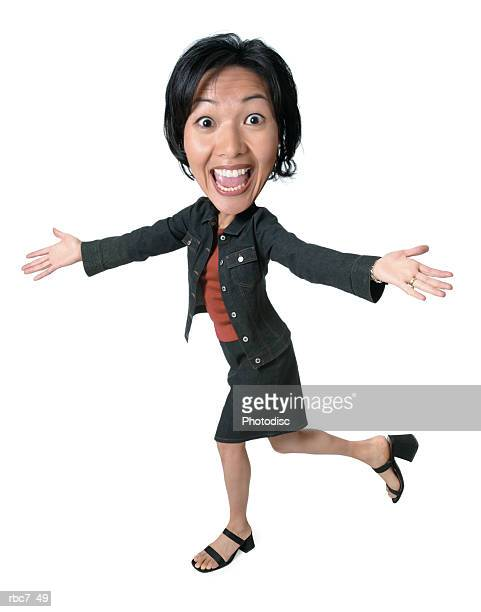 photo caricature of an asian woman in a skirt and jacket as she runs spreads out her arms while smiling