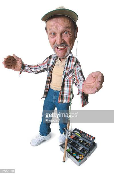 photo caricature of an elderly caucasian man as he prepares his gear to go fishing