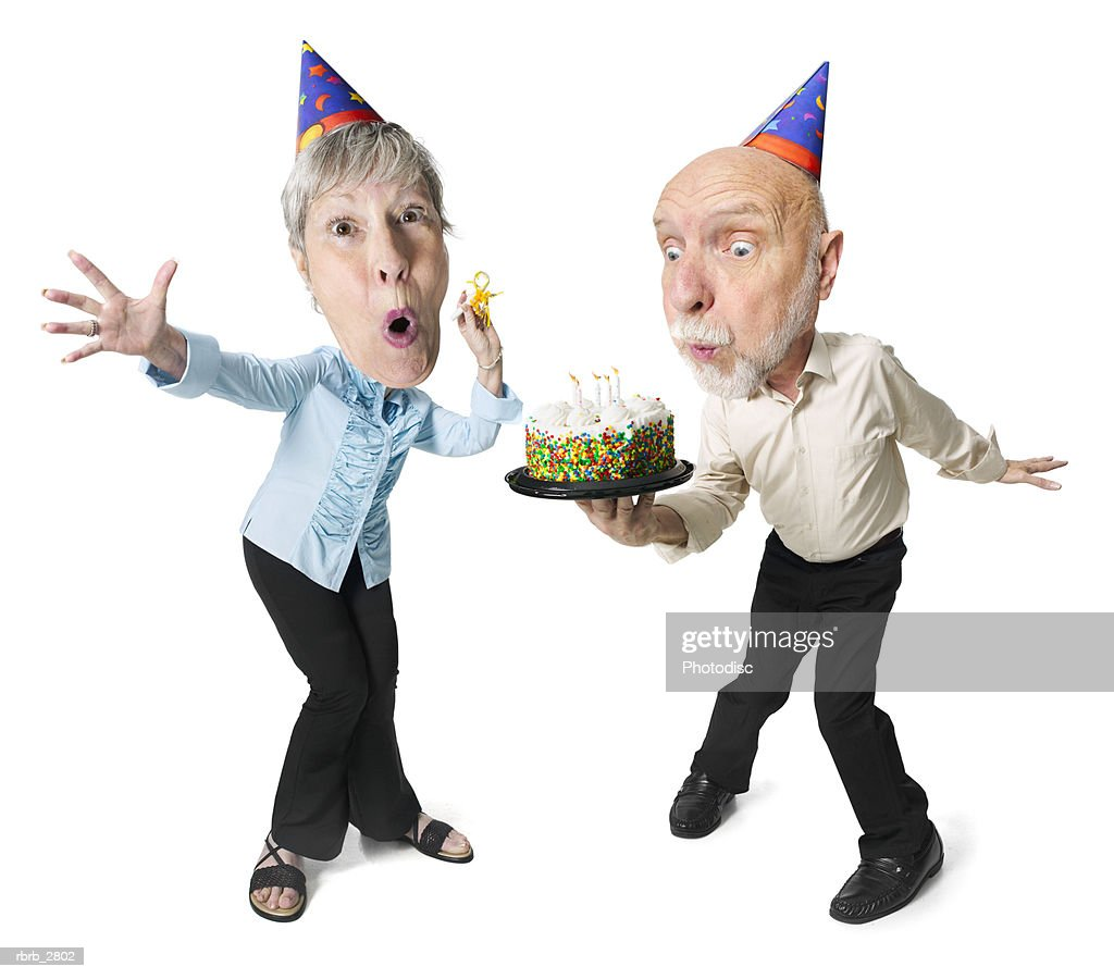 photo caricature of an elderly couple as they celebrate another birthday : Foto de stock
