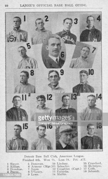 Photo collage depicts players from the Detroit Tigers baseball team, Detroit, Michigan, 1906. Pictured are, left to right, top to bottom, Ed Siever,...