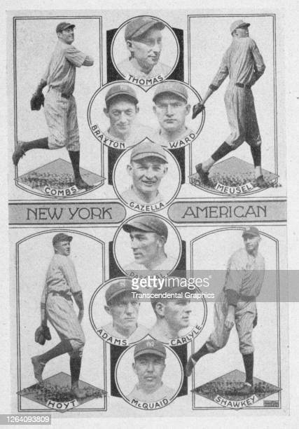 Photo collage features members of the New York Yankees baseball team, 1927. Among those pictured are Hall of Famers Earl Combs and Waite Hoyt.