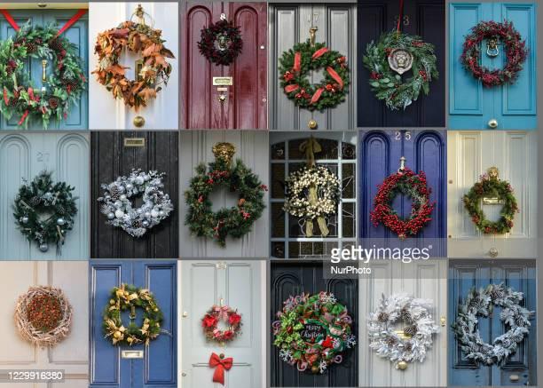 Photo collage showing Christmas wreaths seen on doors around Dublin On Wednesday, December 2 in Dublin, Ireland.
