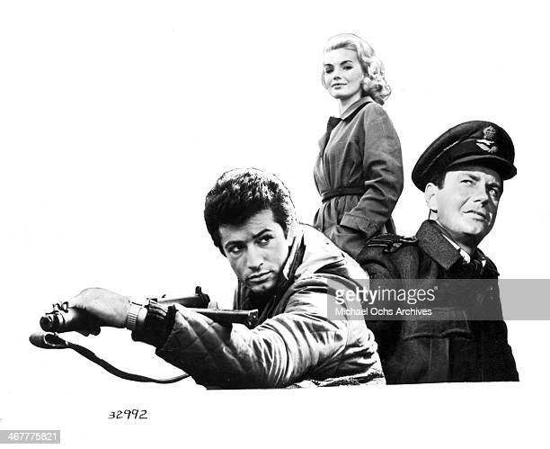 "Photo composite of actor George Chakiris, actress Maria Perschy and Cliff Robertson for the movie ""633 Squadron"" circa 1964."