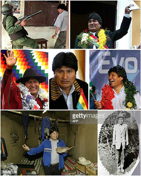 Photo composition with historic pictures of Bolivia's President Evo Morales who seek the reelection in next December 6 general elections Bolivian...