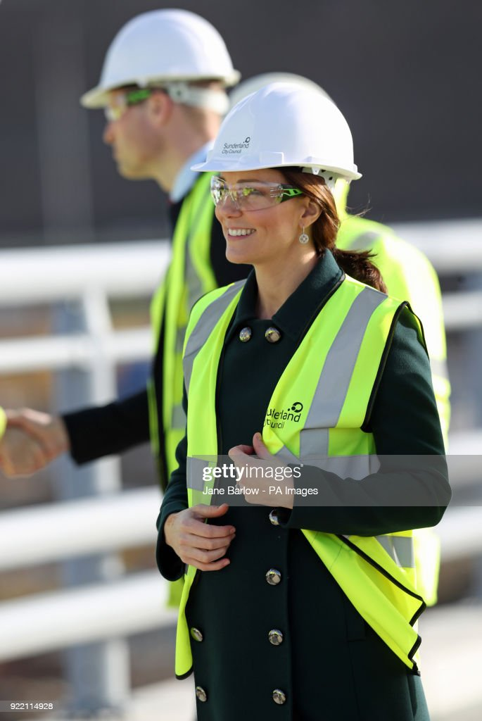 Jane Barlow/PA Wire The Duke and Duchess of Cambridge during a visit to the Northern Spire bridge across the River Wear in Sunderland.