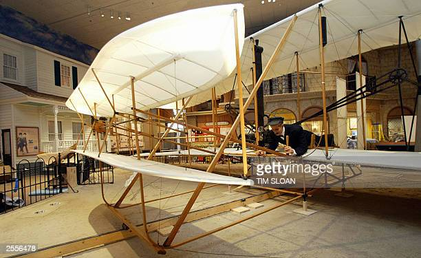 Photo dated 01 October 2003 from the Smithsonian's National Air and Space Museum in Washington DC shows the center piece of 'The Wright Brothers...