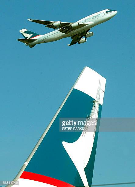 Photo dated 04 July 2002 shows a Cathay Pacific airways Boeing 747 taking off from Hong Kong's Chek Lap Kok airport Analysts have said 06 August 2002...