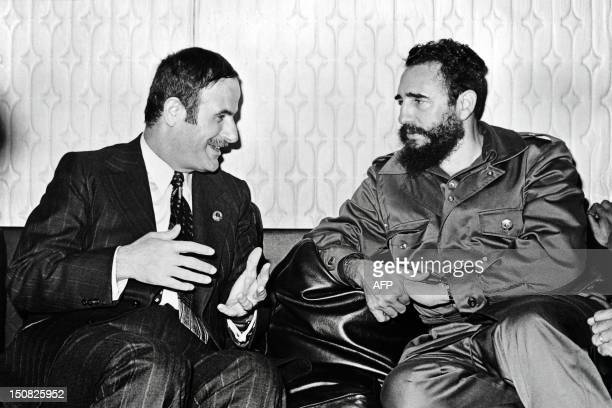Photo dated 09 September 1973 of Syrian President Hafez alAssad meeting with Cuban leader Fidel Castro in Damascus AFP PHOTO / AFP PHOTO /
