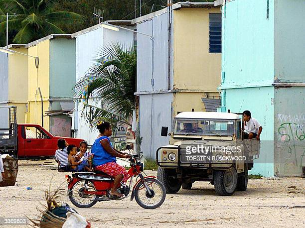 Photo dated 11 September 2001 of squalid housing in the bankrupt island state of Nauru the world's smallest republic which is on the verge of total...