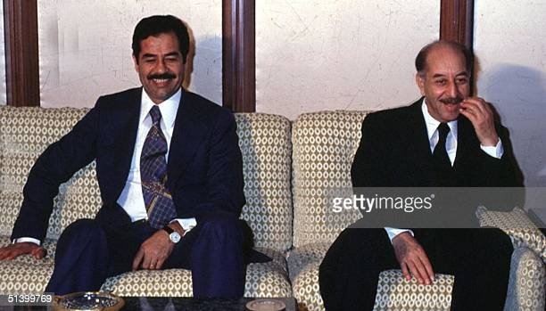 Photo dated 1976 shows former Iraqi President Ahmad Hassan AlBakr sitting with thenVice President Saddam Hussein in Baghdad AlBakr took power in July...