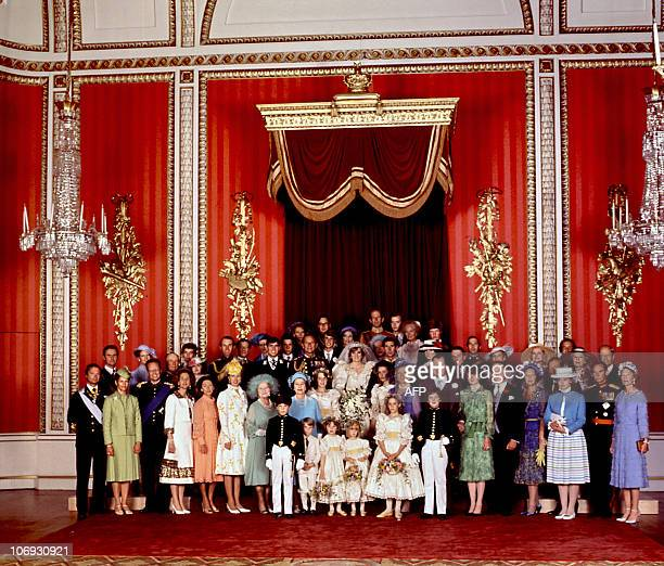 Photo dated 29 July 1981 showing European Royal Families who attended the wedding of Prince Charles and Lady Diana the Princess of Wales The crowned...