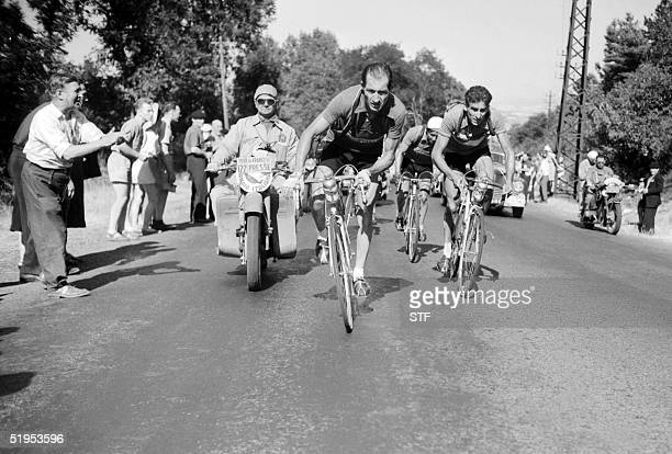 photo dated in 1952 shows Italy's former cycling legend Gino Bartali during the Tour de France Bartali died 05 May 2000 at the age of 86 at his...