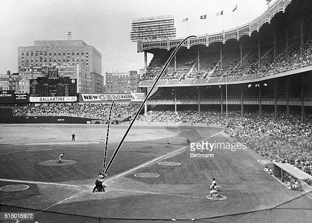 Photo diagram showing how New York Yankee slugger Mickey Mantle's 19th and 20th homers were hit during the Yankee's doubleheader with the Washington...