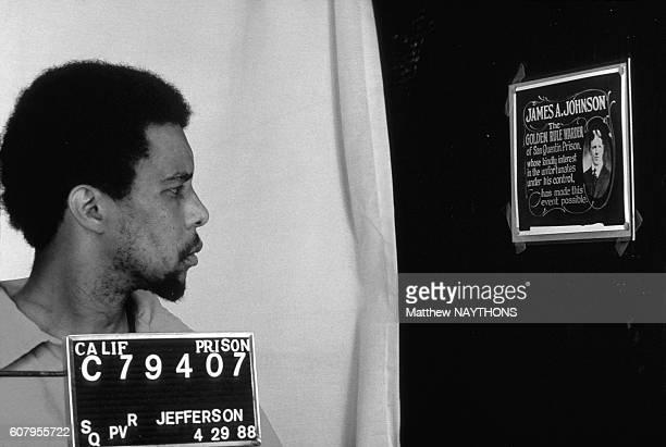 Photo d'identité judiciaire du condamné R Jefferson dans la prison de San Quentin en Californie aux EtatsUnis le 29 avril 1988