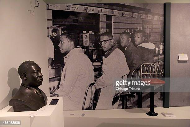 Photo display of the famous lunch counter sit-in in Greensboro North Carolina. DuSable Museum of African American History museum, on August 26...