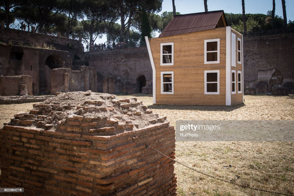 "AFP Photo Document reference000_PZ678 Creation date6/27/2017 CountryROME, ITALY CreditALBERTO PIZZOLI / File size/pixels/dpi38.62 Mb / 4500 x 3000 / 300 dpi Special InstructionsRESTRICTED A picture shows an installation by Italian duet Vedovamazzei a.k.a Simeone Crispino and Stella Scala titled ""After love"" (R) on June 27, 2017 at the Palatine Hill in Rome during a press preview of the exhibition ""From Duchamp to Cattelan, Contemporary art on Palatine Hill""."