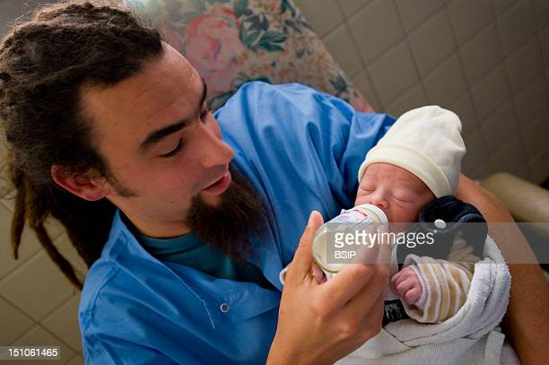 Photo Essay At Hospital Haut Leveque University Hospital Of Bordeaux France The Father And Newborn Baby After The Donation Of The Placental Blood