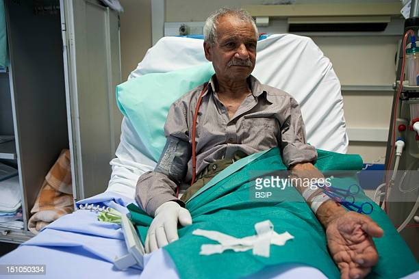 Photo Essay At Laennec Hospital In Creil, France. Department Of Nephrology Hemodialysis. Outpatient Hospital. Patient With An Arteriovenous Fistula...