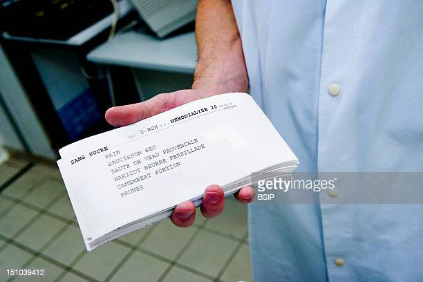 Photo Essay At The Hospital Of Meaux 77 France Preparation For The Patients Meal Trays The Personalized Sheets Sum Up The Content Of The Meals That...