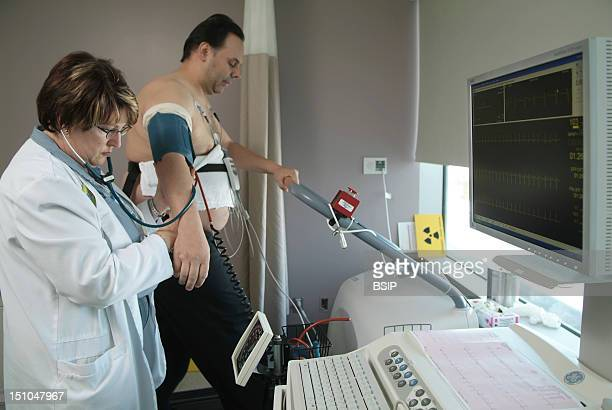 Photo Essay From Hospital Cardiac Stress Test On A Treadmill Measurement Of Blood Pressure